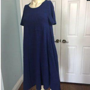 LulaRoe Carly Swing Dress Space Blue Sm w/ Pocket